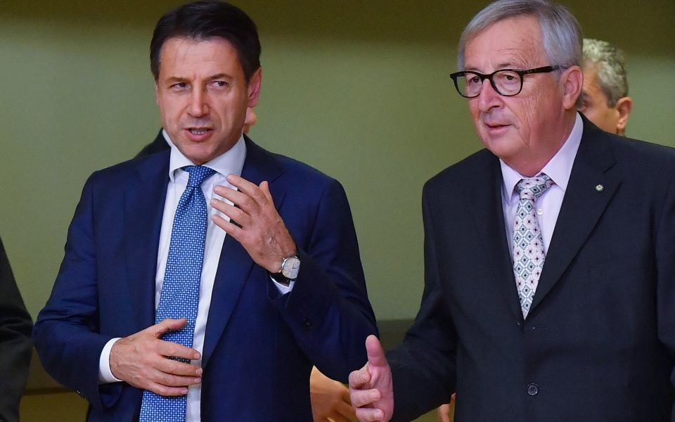 Giuseppe Conte with Jean-Claude Juncker. Italian bonds rally amid hopes EU will halt deficit crackdown