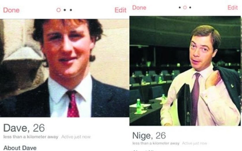 """Tinder and Betfair hook up with """"Dave"""", """"Ed"""", """"Nick"""" and """"Nige"""" profiles to lure """"disengaged, tech-savvy voters"""""""