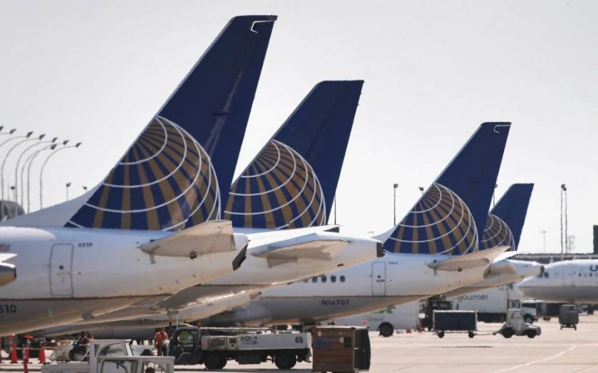 United Airlines flight UA914 lands at London Heathrow after