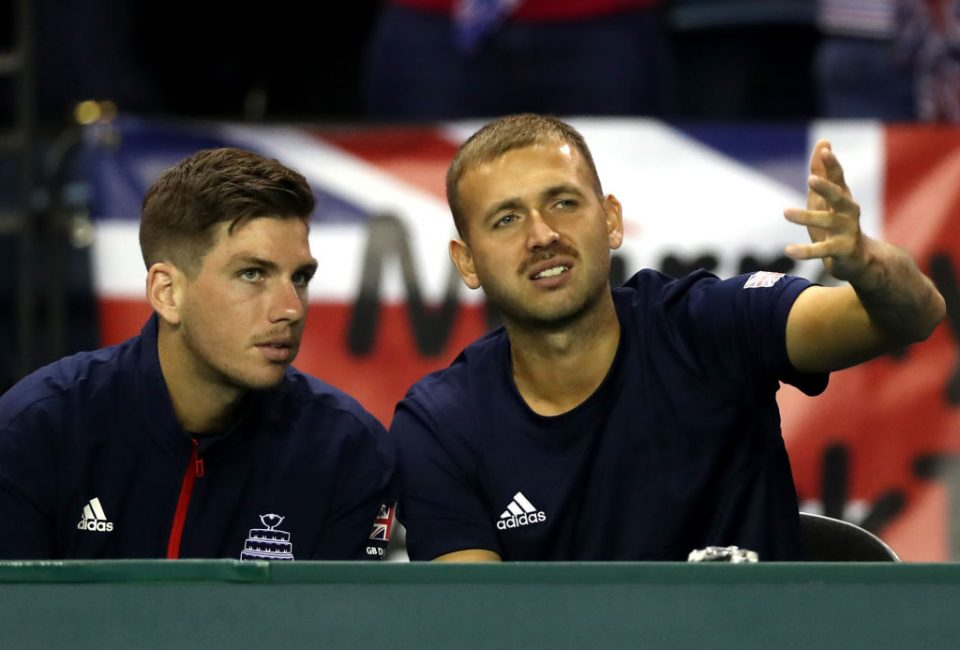 GLASGOW, SCOTLAND - SEPTEMBER 15:  Daniel Evans (R) and Cameron Norrie of Great Britain look on during day two of the Davis Cup by BNP Paribas World Group Play off match between Great Britain and Uzbekistan at Emirates Arena on September 15, 2018 in Glasgow, Scotland.  (Photo by Ian MacNicol/Getty Images for LTA)