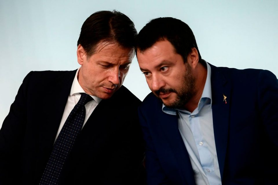 Deputy prime minister of Italy Matteo Salvini and Prime Minister Guiseppe Conti speak at a press conference - the Lega and Five Star Movement coalition have long campaigned to raise public spending