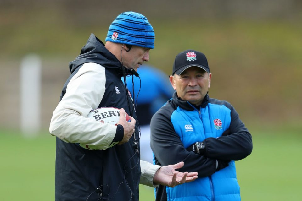 Eddie Jones (right) will stay on as England head coach until 2021, while John Mitchell (left) has signed an extension to the same date