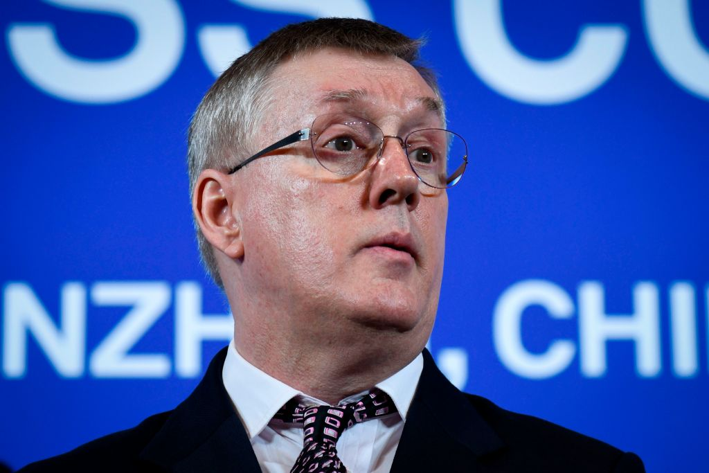 John Suffolk, Senior Vice President, Global Cyber Security and Privacy Officer of Huawei speaks during a press conference in Shenzhen, China's Guangdong province on March 7, 2019. - Chinese telecom giant Huawei said on March 7 it was suing the United States for barring government agencies from buying the telecom company's equipment and services. (Photo by WANG ZHAO / AFP) (Photo credit should read WANG ZHAO/AFP/Getty Images)