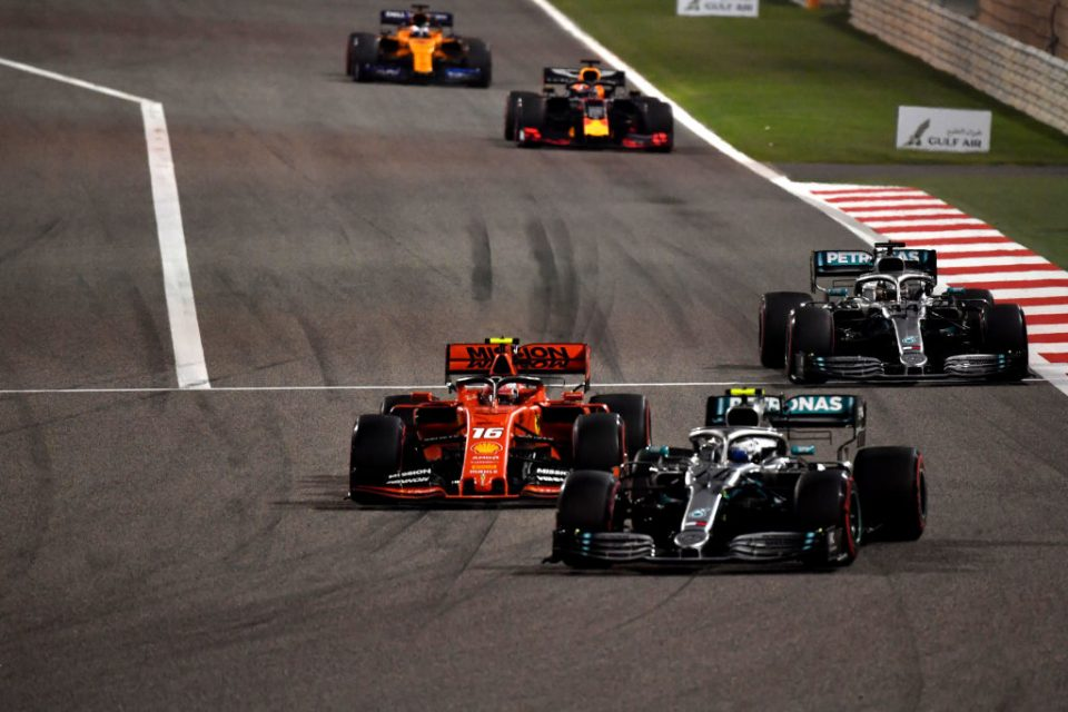 Both the Mercedes cars overtake Charles Leclerc after his Ferrari suffered a short circuit issue