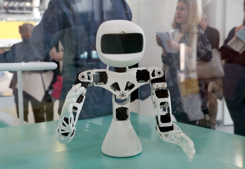 """Poppy Torso, a robot, is displayed during the exhibition """"Robots"""" at the City of Science and Industry or La Cité des Sciences et de l'Industrie in Paris on April 01, 2019. - Job the Fox, Poppy, Pepper and other robots are diplayed to the public at the Cité des sciences in Paris for an exhibition that is designed to present these machines through the technological reality and far from the fantasies and fears they sometimes arouse in humans. (Photo by FRANCOIS GUILLOT / AFP) (Photo credit should read FRANCOIS GUILLOT/AFP/Getty Images)"""