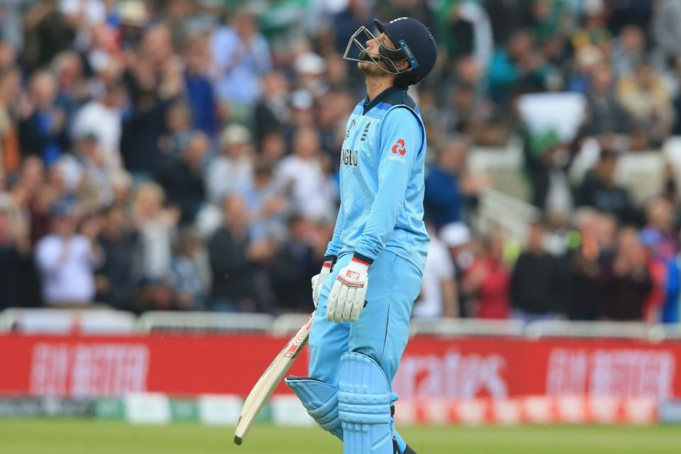 England's Joe Root reacts as he walks back to the pavilion after losing his wicket for 107 during the 2019 Cricket World Cup group stage match between England and Pakistan at Trent Bridge in Nottingham, central England, on June 3, 2019. (Photo by Lindsey PARNABY / AFP) / RESTRICTED TO EDITORIAL USE (Photo credit should read LINDSEY PARNABY/AFP/Getty Images)