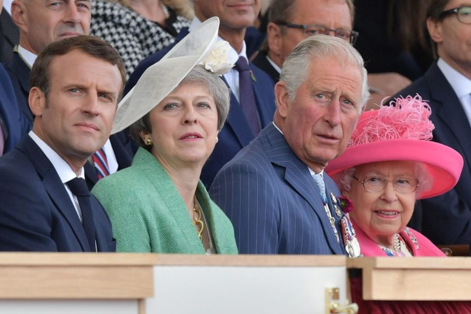 Emmanuel Macron and Theresa May join Prince Charles and Queen Elizabeth II to commemorate the 75th anniversary of the D-Day landings in France