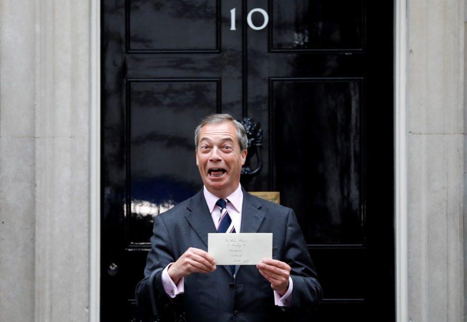 Brexit Party leader Nigel Farage delivers letter demanding seat at EU negotiating table