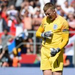 England's goalkeeper Jordan Pickford celebrates Switzerland's forward Josip Drmic missing a penalty kick during the penalty shootout after the UEFA Nations League third place football match between England and Switzerland at the D.Afonso Henriques stadium in Guimaraes, on June 9, 2019 (Photo by MIGUEL RIOPA / AFP) (Photo credit should read MIGUEL RIOPA/AFP/Getty Images)