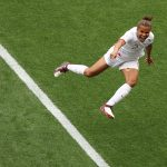 England's forward Nikita Parris celebrates after scoring a goal during the France 2019 Women's World Cup Group D football match between England and Scotland, on June 9, 2019, at the Nice Stadium in Nice, southeastern France. (Photo by Valery HACHE / AFP) (Photo credit should read VALERY HACHE/AFP/Getty Images)