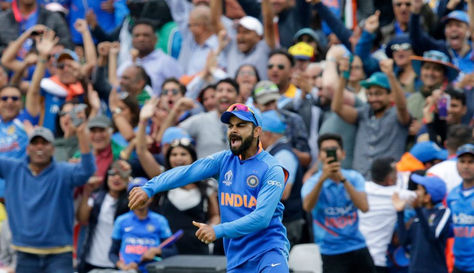 LONDON, ENGLAND - JUNE 09: Virat Kohli of India celebrates after catching out Nathan Coulter-Nile of Australia during the Group Stage match of the ICC Cricket World Cup 2019 between India and Australia at The Oval on June 9, 2019 in London, England. (Photo by Henry Browne/Getty Images)