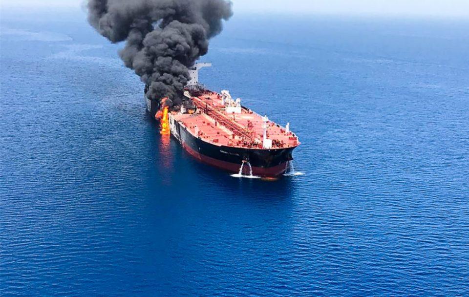 Norwegian-owned tanker Front Altair on fire on Thursday