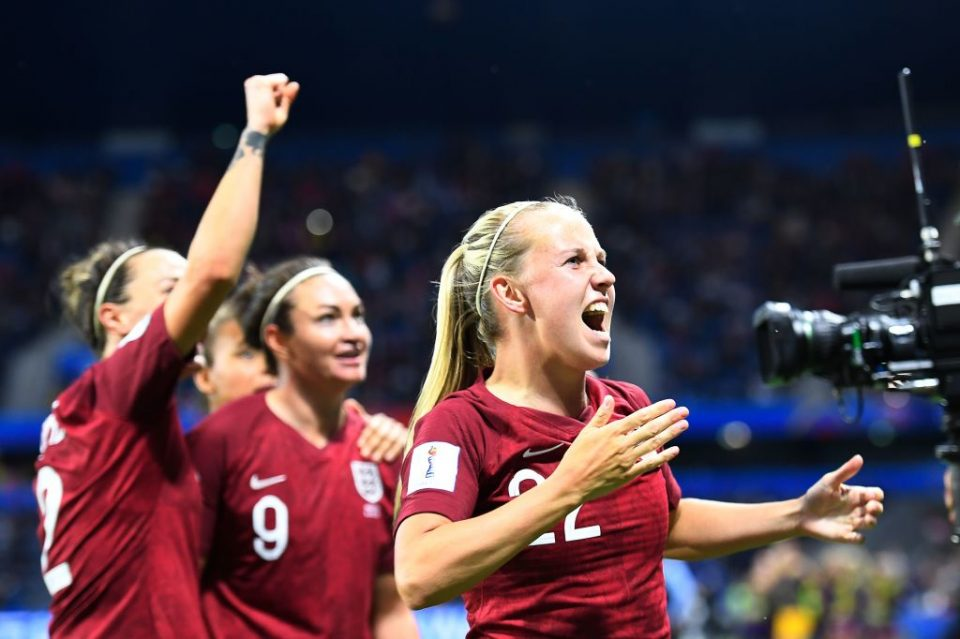 England's forward Beth Mead (R) reacts after England's forward Jodie Taylor (2R) scored their first goal during the France 2019 Women's World Cup Group D football match between England and Argentina, on June 14, 2019, at the Oceane Stadium in Le Havre, northwestern France. (Photo by Damien MEYER / AFP) (Photo credit should read DAMIEN MEYER/AFP/Getty Images)