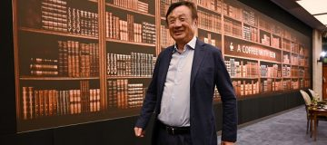 Huawei founder and CEO Ren Zhengfei leaves after a panel discussion on technology, markets and enterprise in Shenzhen, Guangdong province, on June 17, 2019. (Photo by HECTOR RETAMAL / AFP) (Photo credit should read HECTOR RETAMAL/AFP/Getty Images)