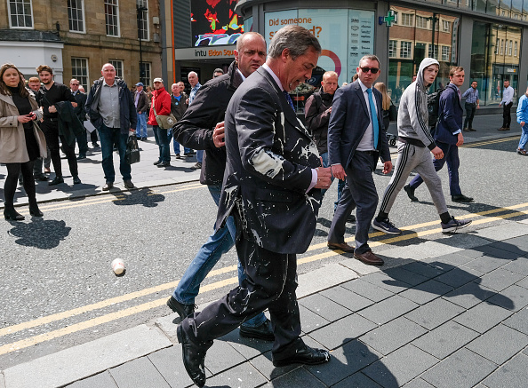 Farage was left soaked after the 'milkshaking' incident in Newcastle