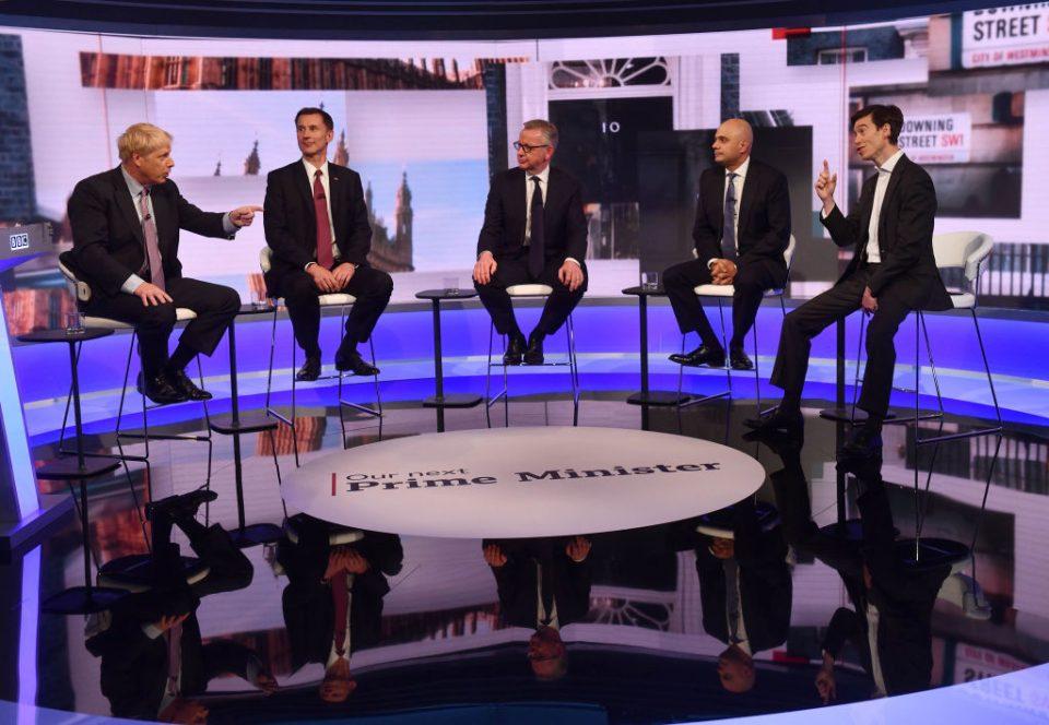 Tory leadership hopefuls take part in the BBC's TV debate
