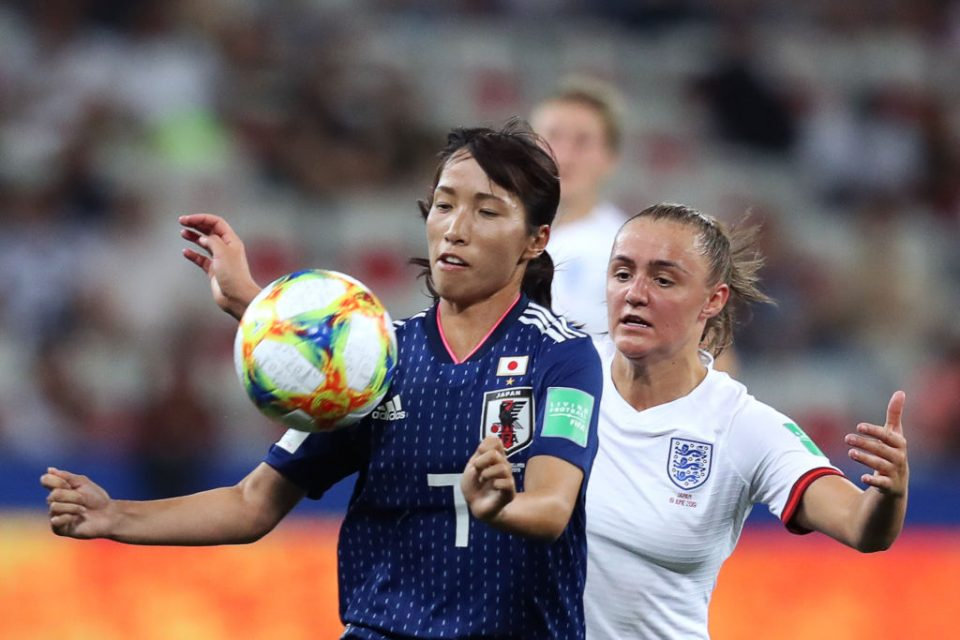 Japan's midfielder Emi Nakajima (L) vies for the ball with England's midfielder Georgia Stanway during the France 2019 Women's World Cup Group D football match between Japan and England, on June 19, 2019, at the Nice Stadium in Nice, southeastern France. (Photo by Valery HACHE / AFP)        (Photo credit should read VALERY HACHE/AFP/Getty Images)