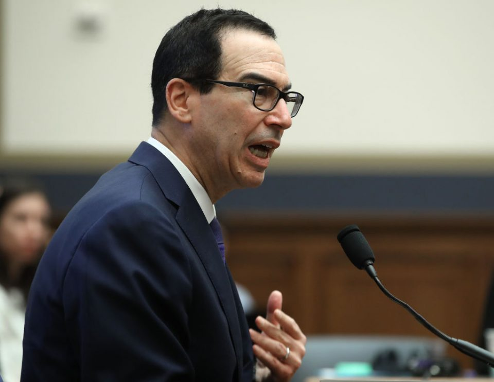 WASHINGTON, DC - MAY 22: Treasury Secretary Steven Mnuchin testifies during a House Financial Services Committee on Capitol Hill May 22, 2019 in Washington, DC. The committee heard testimony from the Secretary on the State of the International Financial System, and President Donald Trump's tax returns. (Photo by Mark Wilson/Getty Images)