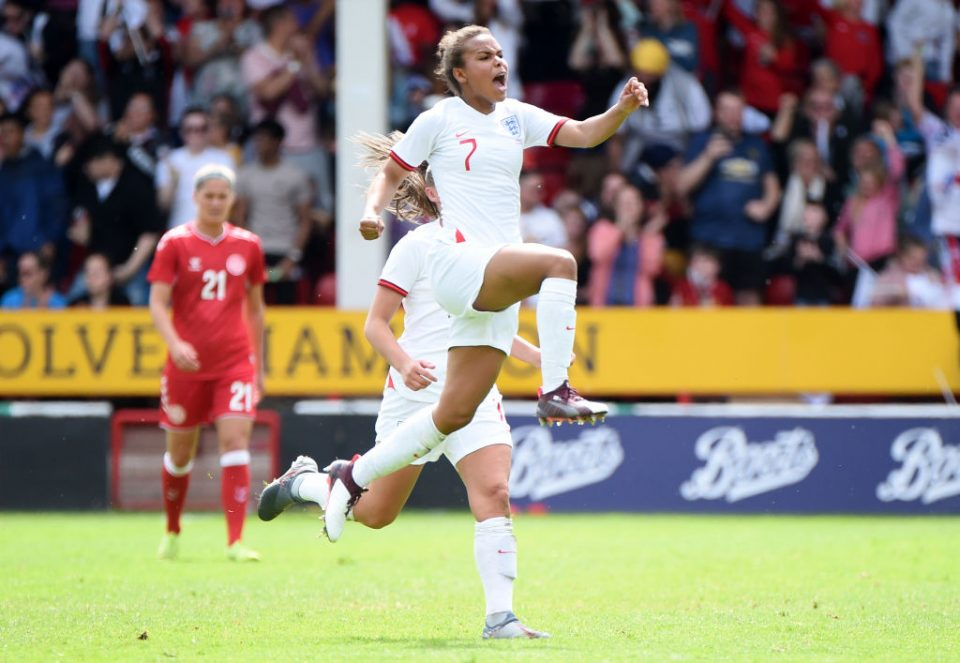 WALSALL, ENGLAND - MAY 25:   Nikita Parris of England celebrates after scoring her team's first goal during the International Friendly between England Women and Denmark Women at Bank's Stadium on May 25, 2019 in Walsall, England. (Photo by Nathan Stirk/Getty Images)