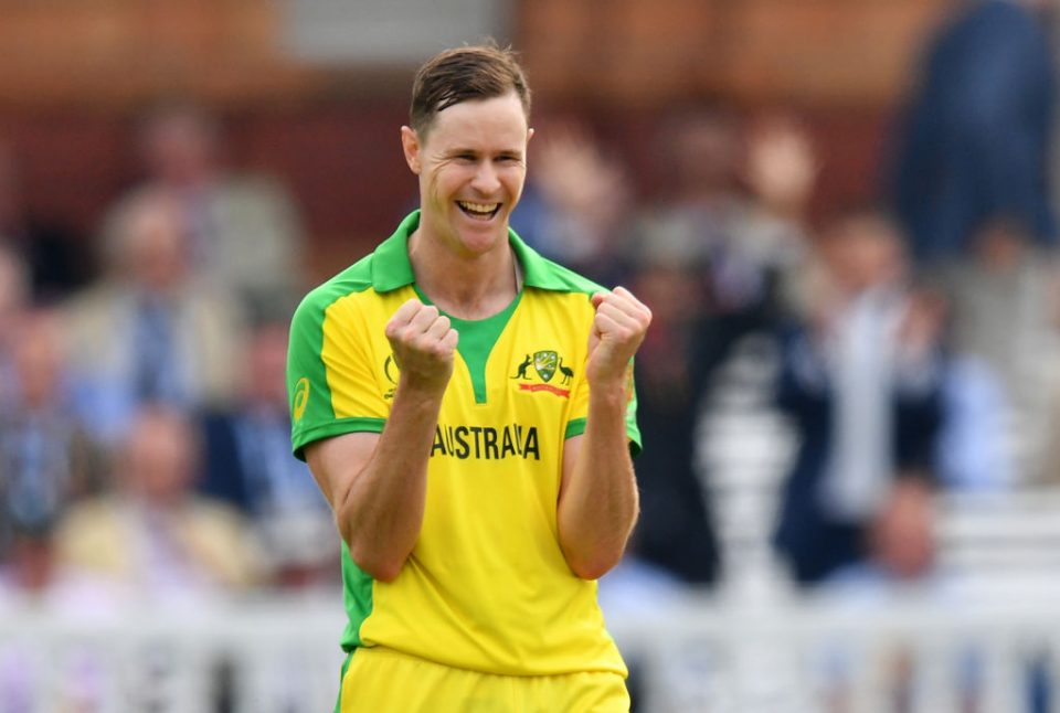 Australia's Jason Behrendorff celebrates after the dismissal of England's Jofra Archer during the 2019 Cricket World Cup group stage match between England and Australia at Lord's Cricket Ground in London on June 25, 2019. (Photo by SAEED KHAN / AFP) / RESTRICTED TO EDITORIAL USE        (Photo credit should read SAEED KHAN/AFP/Getty Images)
