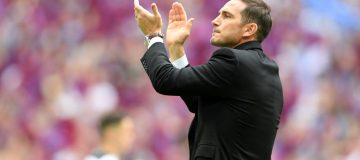 LONDON, ENGLAND - MAY 27: Frank Lampard, Manager of Derby County applauds fans following defeat in the Sky Bet Championship Play-off Final match between Aston Villa and Derby County at Wembley Stadium on May 27, 2019 in London, United Kingdom. (Photo by Mike Hewitt/Getty Images)