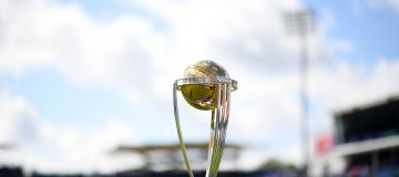 CARDIFF, WALES - JUNE 08: General view of the Cricket World Cup Trophy during the Group Stage match of the ICC Cricket World Cup 2019 between England and Bangladesh at Cardiff Wales Stadium on June 08, 2019 in Cardiff, Wales. (Photo by Harry Trump/Getty Images)