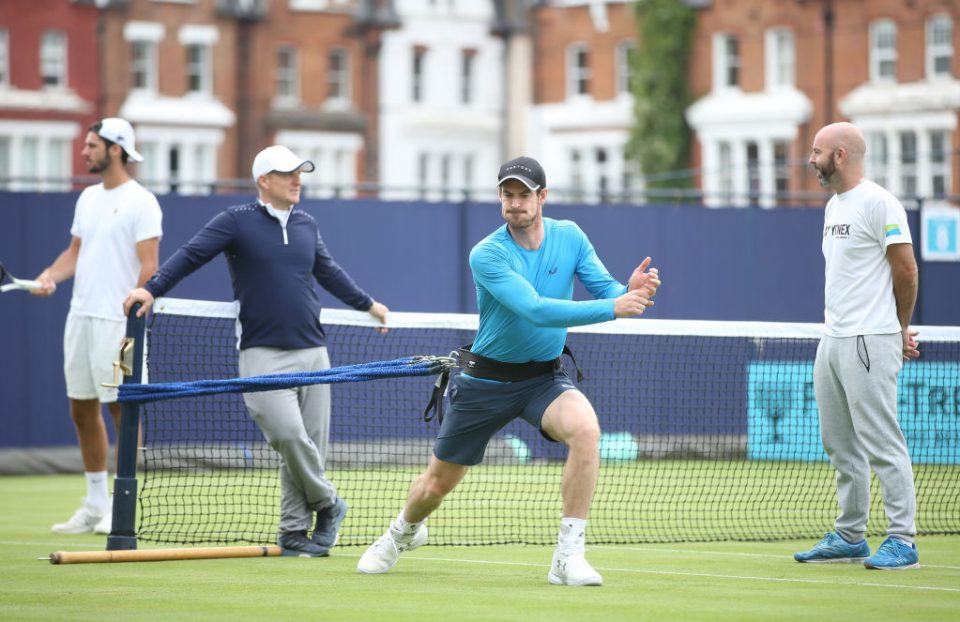 LONDON, ENGLAND - JUNE 12: Andy Murray of Great Britain during a practice session prior to the Fever-Tree Championships at Queens Club on June 12, 2019 in London, United Kingdom. (Photo by Alex Morton/Getty Images for LTA)