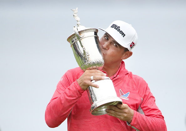 PEBBLE BEACH, CALIFORNIA - JUNE 16: Gary Woodland of the United States poses with the trophy after winning the 2019 U.S. Open at Pebble Beach Golf Links on June 16, 2019 in Pebble Beach, California. (Photo by Christian Petersen/Getty Images)