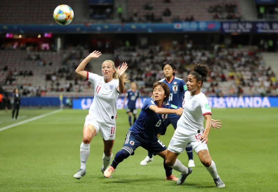 NICE, FRANCE - JUNE 19: Demi Stokes of England is challenged by Mana Iwabuchi of Japan during the 2019 FIFA Women's World Cup France group D match between Japan and England at Stade de Nice on June 19, 2019 in Nice, France. (Photo by Elsa/Getty Images)