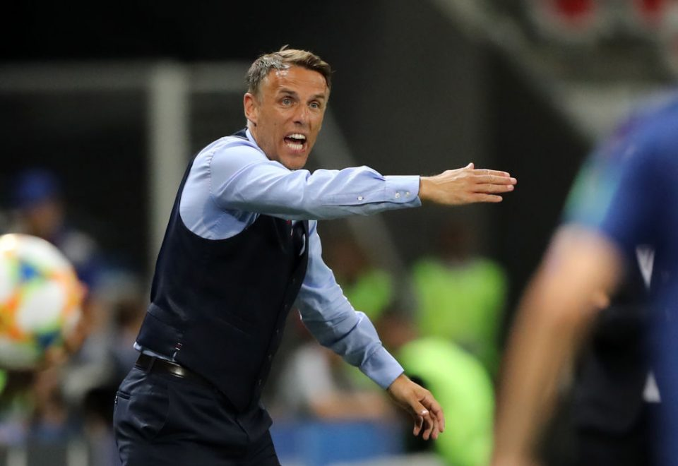 NICE, FRANCE - JUNE 19: Philip Neville, Head Coach of England gives his team instructions during the 2019 FIFA Women's World Cup France group D match between Japan and England at Stade de Nice on June 19, 2019 in Nice, France. (Photo by Elsa/Getty Images)