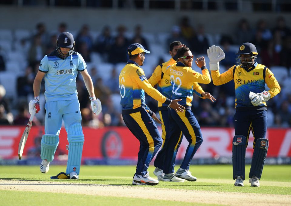 LEEDS, ENGLAND - JUNE 21: Chris Woakes of England walks off after being dismissed by Dhananjaya de Silva of Sri Lanka during the Group Stage match of the ICC Cricket World Cup 2019 between England and Sri Lanka at Headingley on June 21, 2019 in Leeds, England. (Photo by Clive Mason/Getty Images)