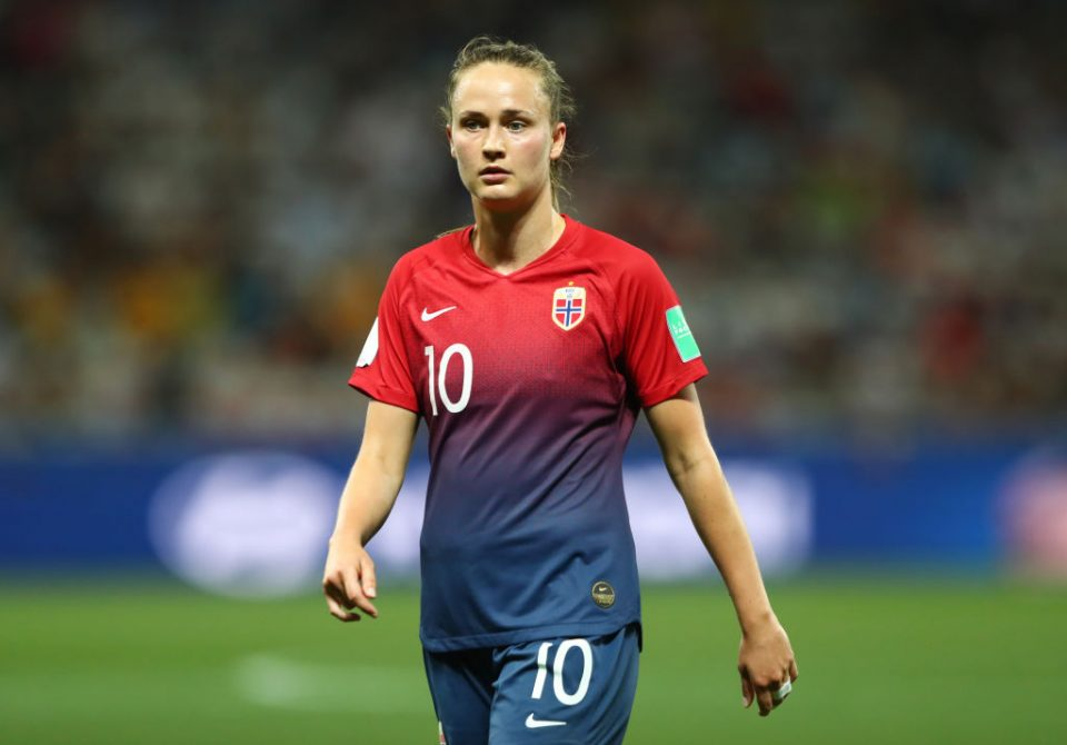 NICE, FRANCE - JUNE 22: Caroline Graham Hansen of Norway looks on during the 2019 FIFA Women's World Cup France Round Of 16 match between Norway and Australia at Stade de Nice on June 22, 2019 in Nice, France. (Photo by Martin Rose/Getty Images )