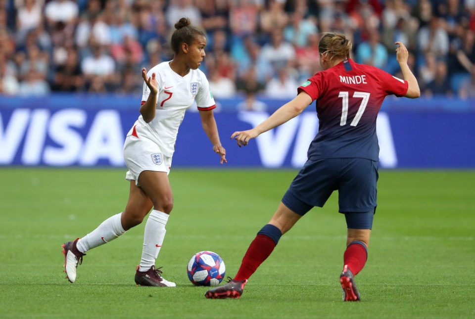 LE HAVRE, FRANCE - JUNE 27:  Nikita Parris of England takes on Kristine Minde of Norway during the 2019 FIFA Women's World Cup France Quarter Final match between Norway and England at Stade Oceane on June 27, 2019 in Le Havre, France. (Photo by Robert Cianflone/Getty Images)