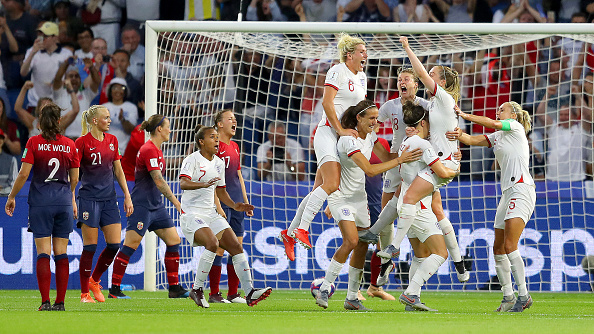 LE HAVRE, FRANCE - JUNE 27:  Lucy Bronze of England celebrates with teammates after scoring her team's third goal during the 2019 FIFA Women's World Cup France Quarter Final match between Norway and England at Stade Oceane on June 27, 2019 in Le Havre, France. (Photo by Richard Heathcote/Getty Images)
