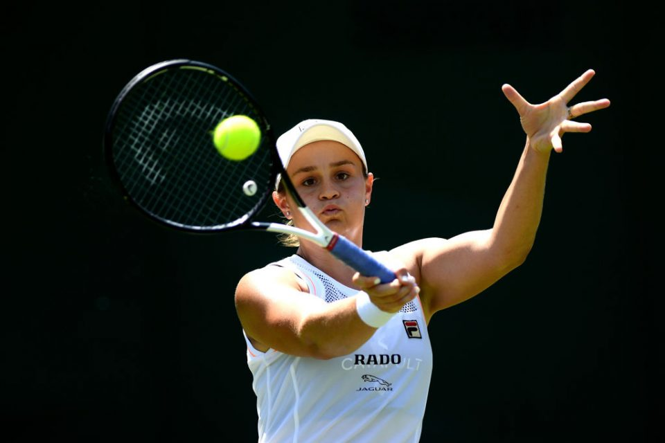 LONDON, ENGLAND - JUNE 29: Ashleigh Barty of Australia in a practice session ahead of The Championships - Wimbledon 2019 at All England Lawn Tennis and Croquet Club on June 29, 2019 in London, England. (Photo by Matthias Hangst/Getty Images)