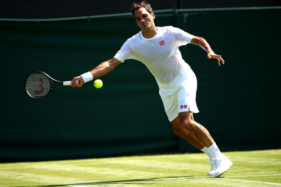 LONDON, ENGLAND - JUNE 29: Roger Federer of Switzerland during a practice session ahead of The Championships - Wimbledon 2019 at All England Lawn Tennis and Croquet Club on June 29, 2019 in London, England. (Photo by Clive Brunskill/Getty Images)