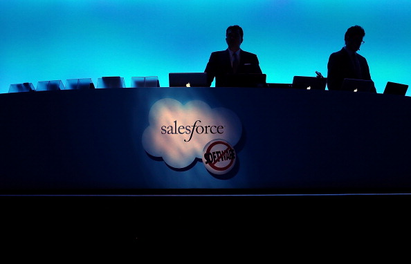 SAN FRANCISCO, CA - SEPTEMBER 19: The Salesforce logo is displayed on a podium during the Dreamforce 2012 conference at the Moscone Center on September 19, 2012 in San Francisco, California. A reported 90,000 people registered to attend the cloud computing industry conference Dreamforce 2012 that runs through September 21. (Photo by Justin Sullivan/Getty Images)