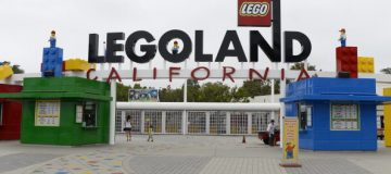 CARLSBAD, CA-SEPTEMBER-17: Entrance to Legoland California theme park next to North America's first ever Legoland Hotel at Legoland on September 17, 2013 in Carlsbad, California. The three-story, 250-room hotel is located at the entrance of Legoland California theme park. (Photo by Kevork Djansezian/Getty Images)