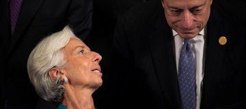 IMF head Christine Lagarde talks to ECB president Mario Draghi