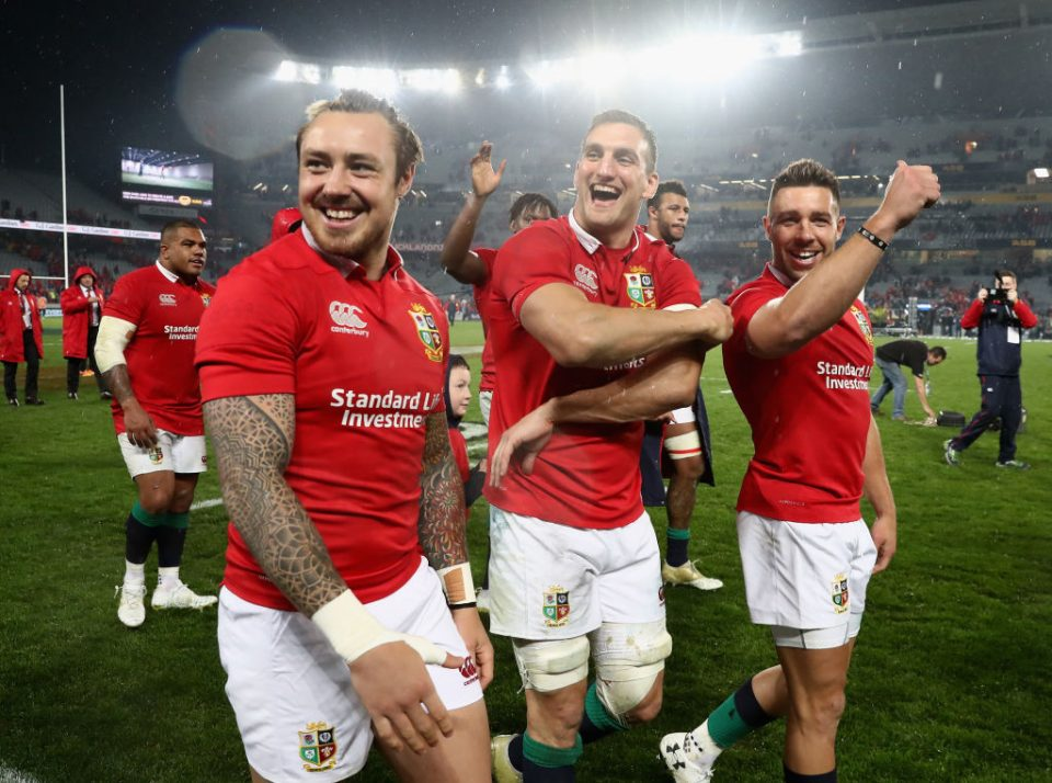 AUCKLAND, NEW ZEALAND - JULY 08:  Sam Warburton, (C) the Lions captain, Jack Nowell (L) and Rhys Webb acknowledges the Lions supporters after they draw the final test 15-15 and tie the series during the Test match between the New Zealand All Blacks and the British & Irish Lions at Eden Park on July 8, 2017 in Auckland, New Zealand.  (Photo by David Rogers/Getty Images)