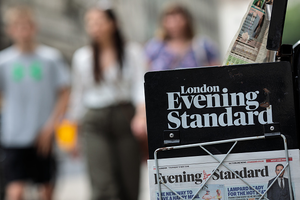 LONDON, ENGLAND - MAY 31: Copies of the London Evening Standard newspaper sit outside St. James's Park Underground station on May 31, 2018 in London, England. (Photo by Jack Taylor/Getty Images)