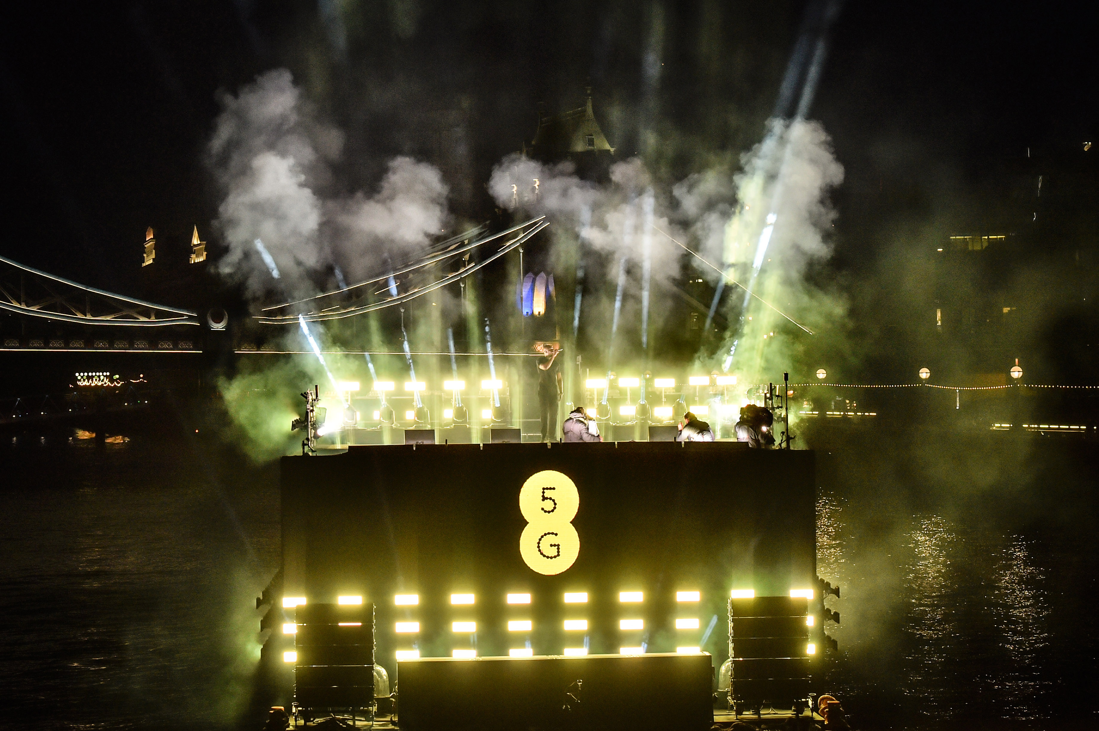 Stormzy performs at a 5G-powered gig beside Tower Bridge on the River Thames to mark the launch of 5G on EE