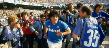Diego Maradona of Napoli runs out at the Stadio San Paolo in Naples, Italy