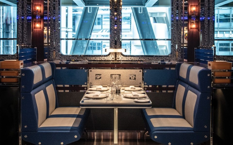 The Orient Express-style booths at Bob Bob Cite in the Cheesegrater
