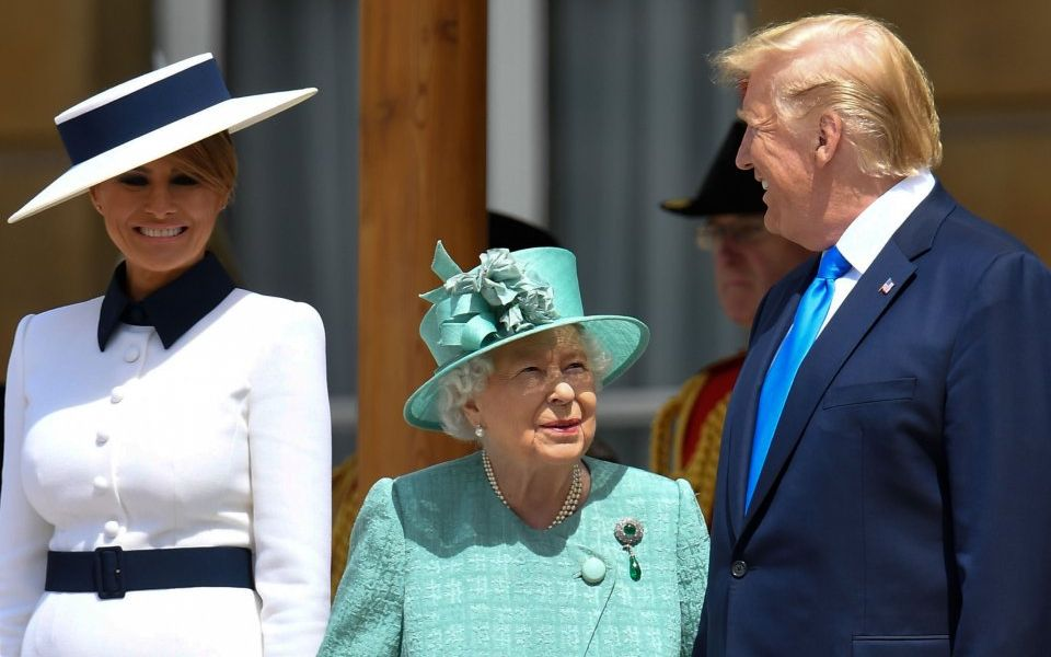US President Trump greets Queen at Buckingham Palace in UK state visit