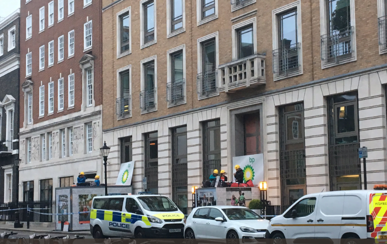 Greenpeace activists blockade BP's London offices in climate change protest