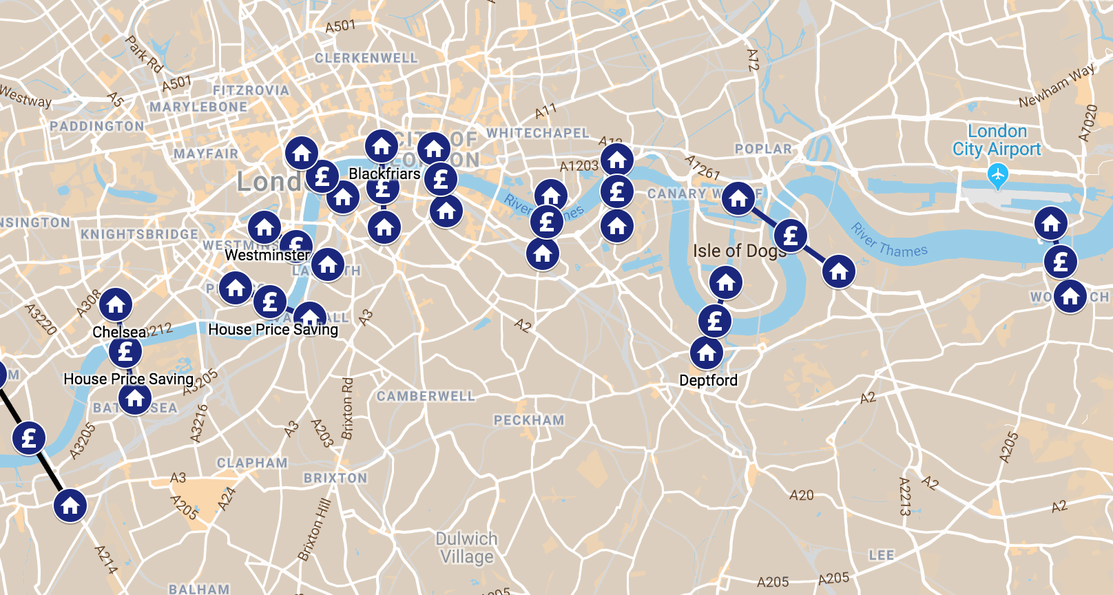 Mapped: Where to save money on London house prices along the River Thames