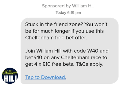 William Hill advert on Tinder banned over link between gambling and sexual success