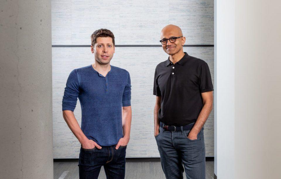OpenAI CEO Sam Altman (left) stands with Microsoft CEO Satya Nadella (Source: Microsoft)