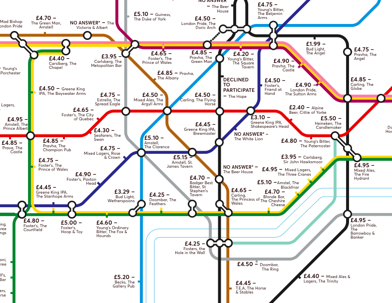 Tube Map Of London.New Tube Map Shows You Where To Find London S Cheapest Pints Of Beer